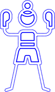 An illustration of a blue boxing character