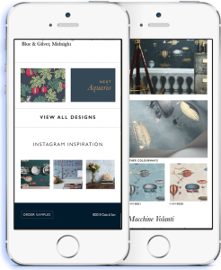 Cole and son app mockup seen on an Iphone