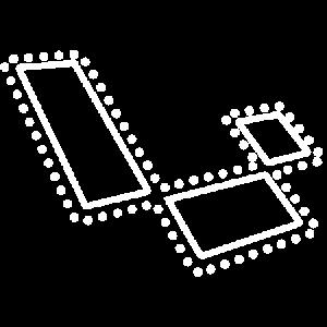 A white logo of Laravel