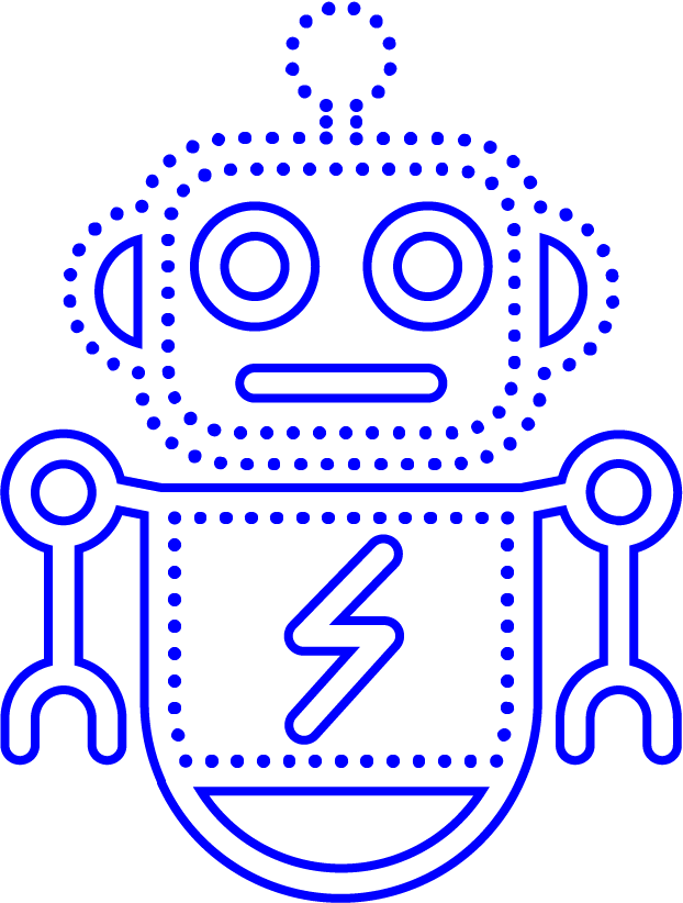 An illustration of a blue cute robot