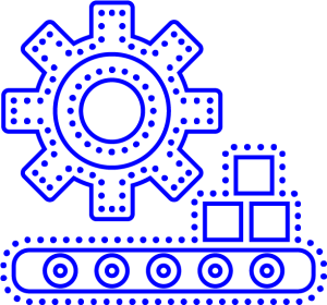 An illustration of a blue factory and a gear