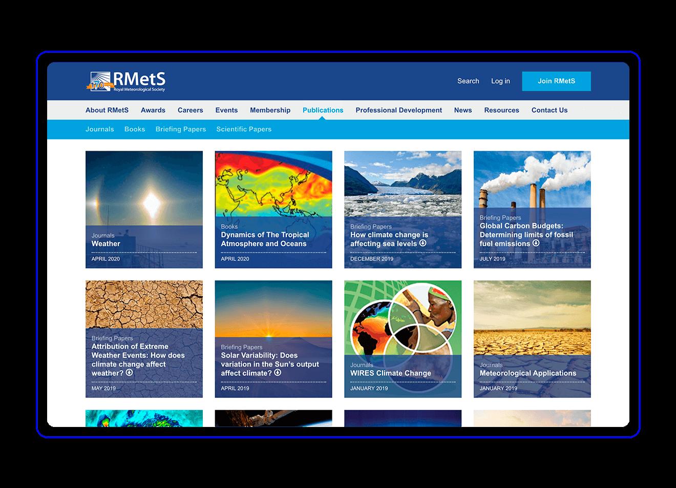 Royal Meteorological Society main page