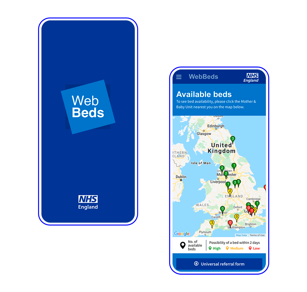 NHS web beds - mobile version